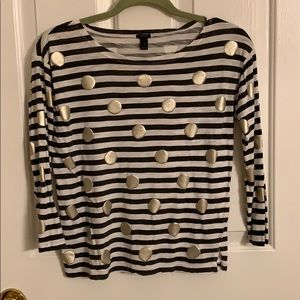 J. Crew Gold Dots and Gray Stripes Shirt, Size S